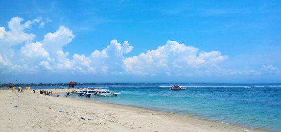 White sandy Sanur Beach Bali