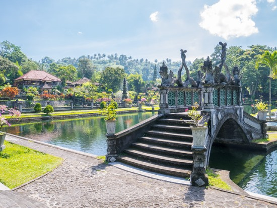 Bridge in the center of Tirta Gangga Bali