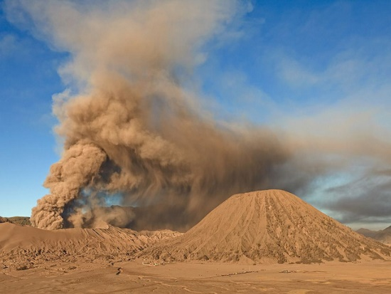 Crater smoke viewed from Mount Bromo Sand Dunes