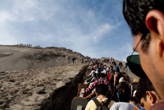 Go up the stairs to Mount Bromo Crater