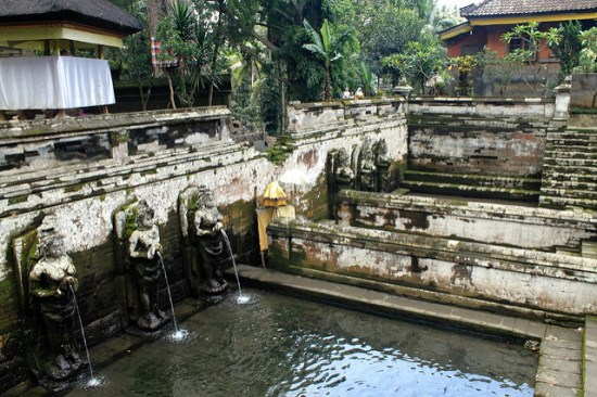 Holy spring water in Elephant Cave Ubud