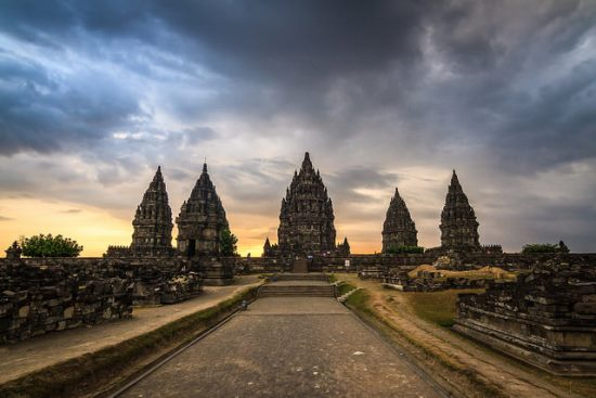 Prambanan Temple at the sunset time