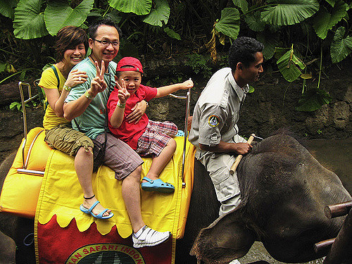 Riding an elephant in Bali Safari and Marine Park