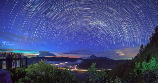 Starry sky above Mount Bromo