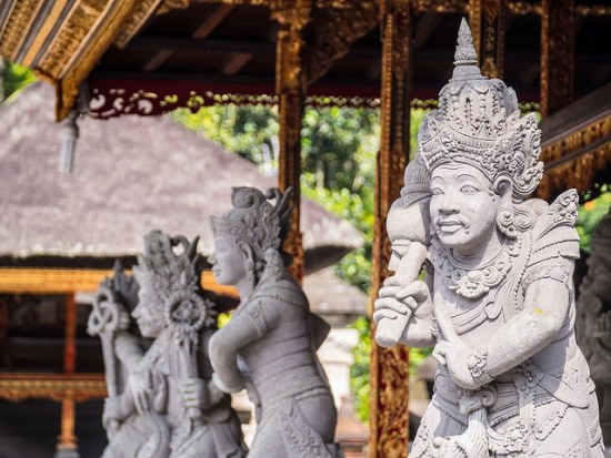 Statues of goddess at Pura Tirta Empul