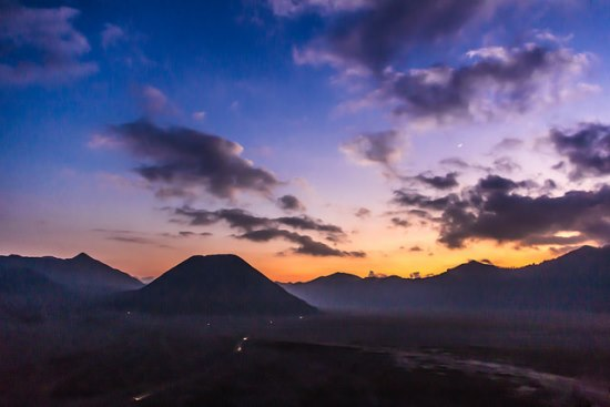 Sunrise from the caldera of Mount Bromo