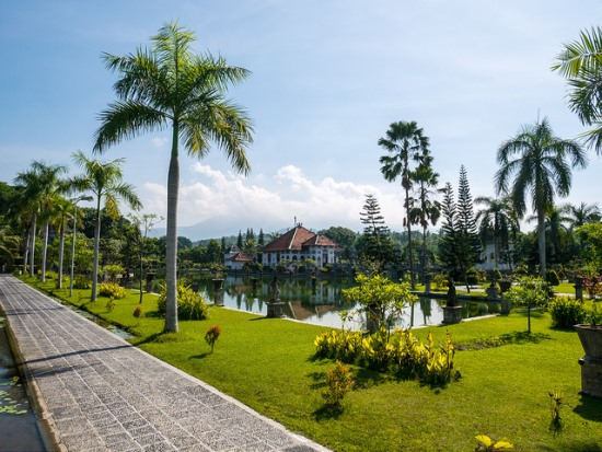 The broad garden of Ujung Water Palace