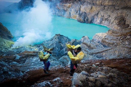 The suphur mining worker in Kawah Ijen