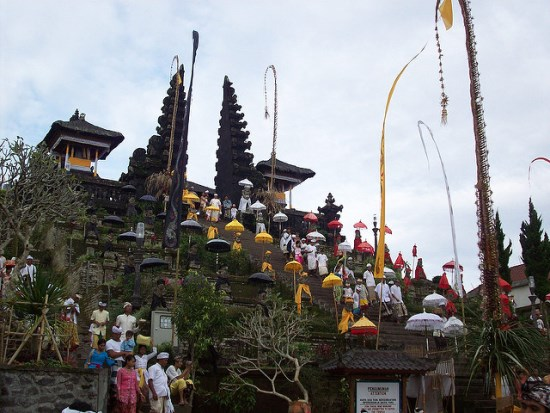 Traditional Ceremony held on Pura Besakih