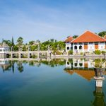 Ujung Water Palace Building and the pool